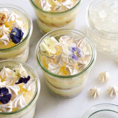 lemon pavlova parfaits in glass jars